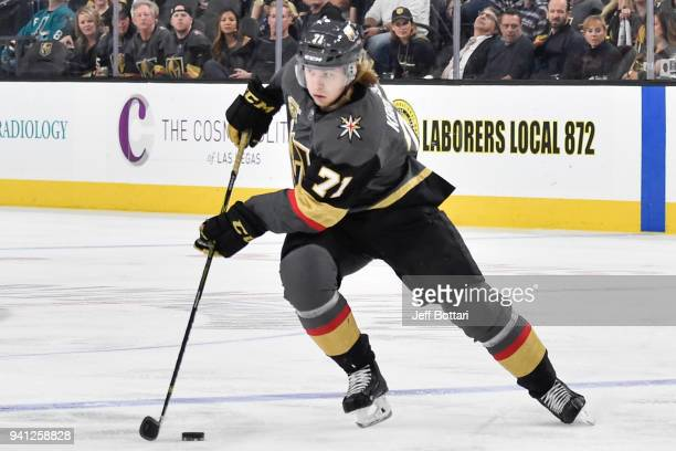 William Karlsson of the Vegas Golden Knights skates with the puck against the San Jose Sharks during the game at TMobile Arena on March 31 2018 in...