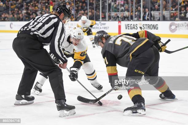 William Karlsson of the Vegas Golden Knights takes a faceoff against Sidney Crosby of the Pittsburgh Penguins during the game at TMobile Arena on...