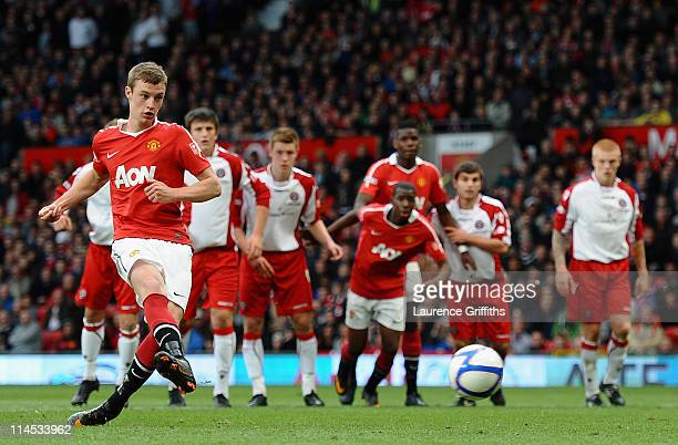 William Keane of Manchester United fires home the second goal from the penalty spot during the FA Youth Cup Final 2nd Leg match between Manchester...