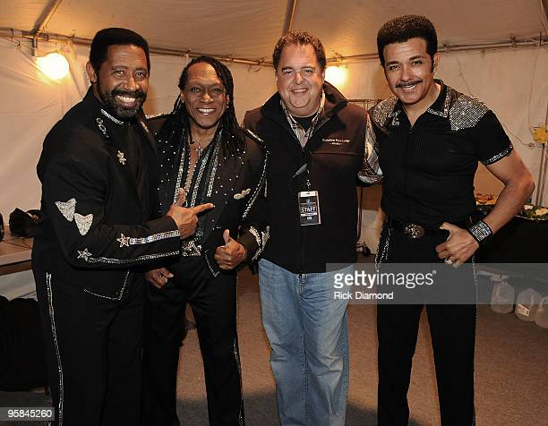 COVERAGE*** William King Walter Orange and JDNicholas of The Commodores with Production Mananger Country Crossing Tony Conway backstage during the...