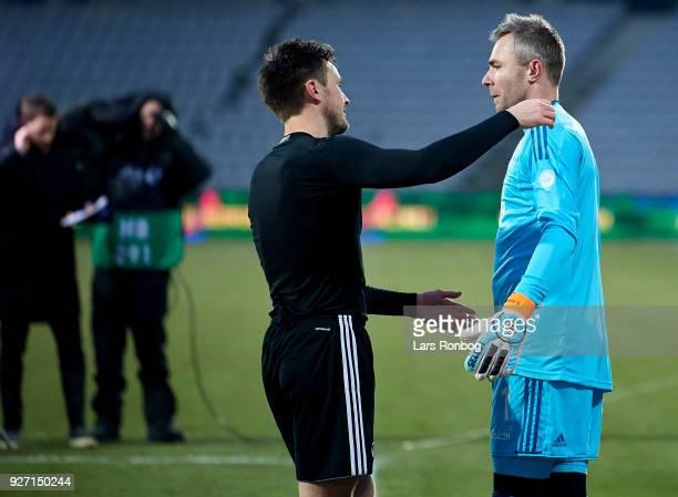 William Kvist and Goalkeeper Stephan Andersen of FC Copenhagen celebrate after the Danish Alka Superliga match between AGF Aarhus and FC Copenhagen...