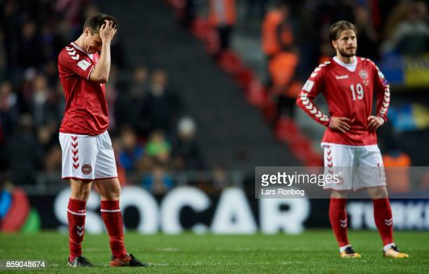 William Kvist and Lasse Schone of Denmark looking dejected after the FIFA World Cup 2018 qualifier match between Denmark and Romania at Telia Parken...