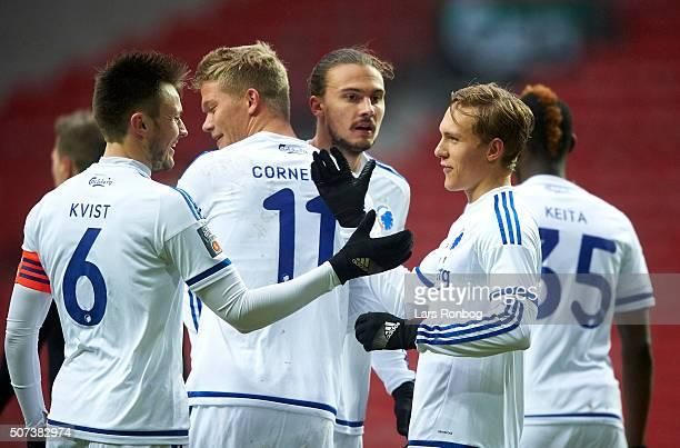 William Kvist Andreas Cornelius Erik Johansson Ludvig Augustinsson and Aboubakar Keita of FC Copenhagen celebrates after scoring their first goal...