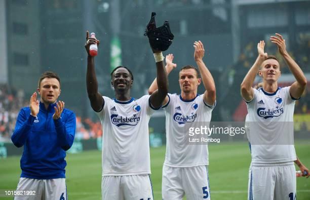 William Kvist Dame N'Doye Andreas Bjelland and Jan Gregus of FC Copenhagen celebrate after the Danish Superliga match between FC Copenhagen and...