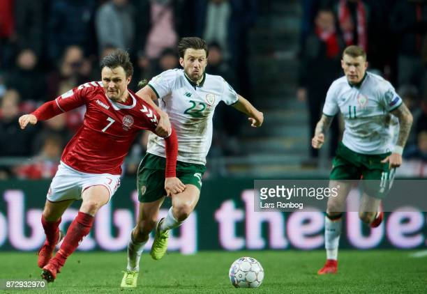 William Kvist of Denmark and Harry Arter of Republic of Ireland compete for the ball during the FIFA 2018 World Cup Qualifier PlayOff First Leg match...