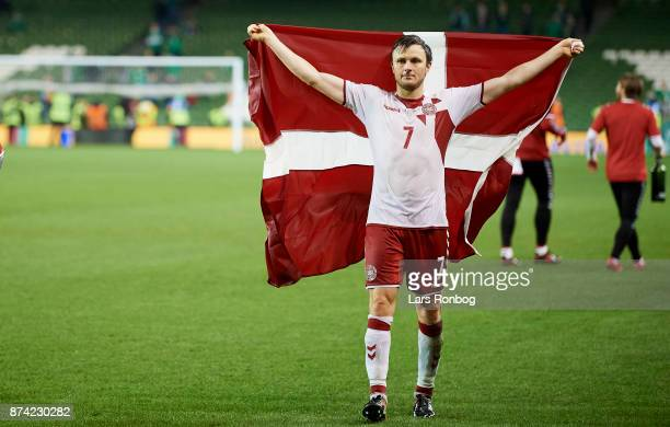 William Kvist of Denmark celebrates after the FIFA 2018 World Cup Qualifier PlayOff Second Leg match between Republic of Ireland and Denmark at Aviva...