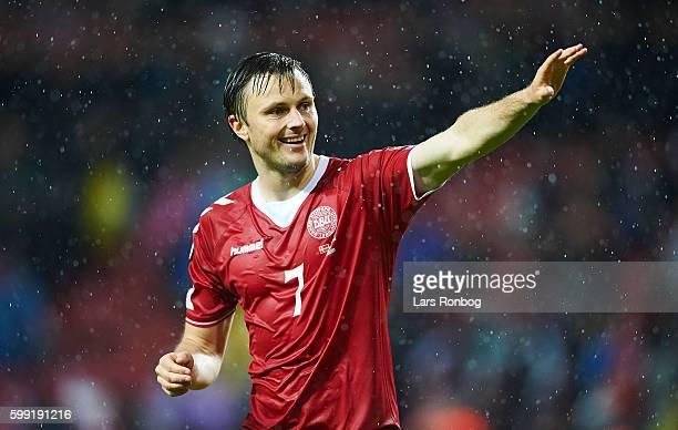 William Kvist of Denmark celebrates after the FIFA World Cup 2018 european qualifier match between Denmark and Armenia at Telia Parken Stadium on...