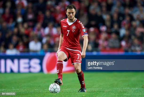 William Kvist of Denmark controls the ball during the FIFA World Cup 2018 qualifier match between Denmark and Poland at Telia Parken Stadium on...