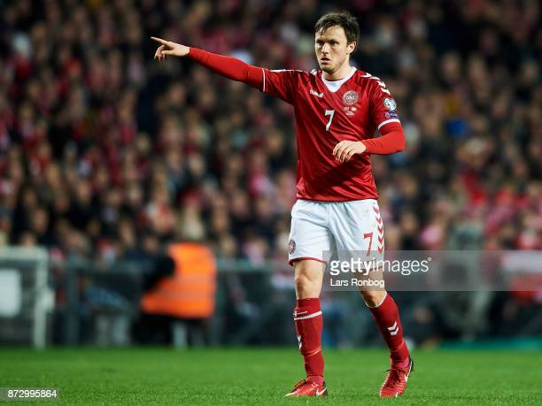 William Kvist of Denmark gestures during the FIFA 2018 World Cup Qualifier PlayOff First Leg match between Denmark and Republic of Ireland at Telia...