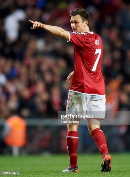 William Kvist of Denmark gestures during the FIFA World Cup 2018 qualifier match between Denmark and Romania at Telia Parken Stadium on October 8...