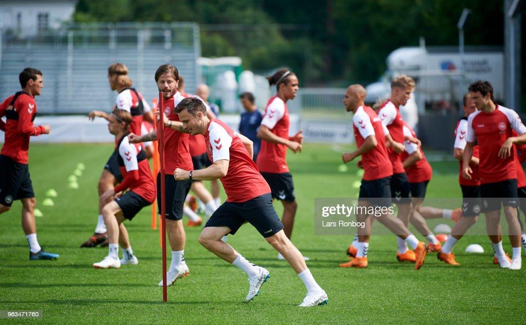 William Kvist of Denmark in action during the Denmark training session Helsingor Stadion on May 28, 2018 in Helsingor, Denmark.