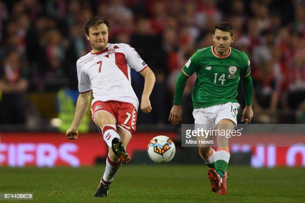 William Kvist of Denmark in action during the FIFA 2018 World Cup Qualifier PlayOff Second Leg between Republic of Ireland and Denmark at Aviva...