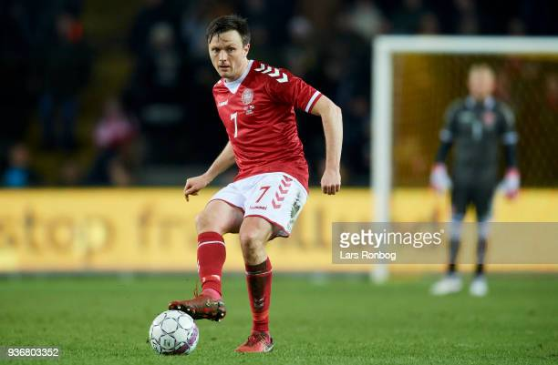 William Kvist of Denmark in action during the International friendly match between Denmark and Panama at Brondby Stadion on March 22 2018 in Brondby...