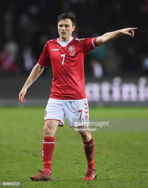 William Kvist of Denmark looks on during the International Friendly match between Denmark and Panama at Brondby Stadion on March 22 2018 in Brondby...