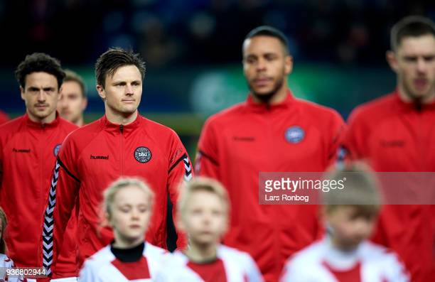 William Kvist of Denmark walks on to the pitch prior to the International friendly match between Denmark and Panama at Brondby Stadion on March 22...