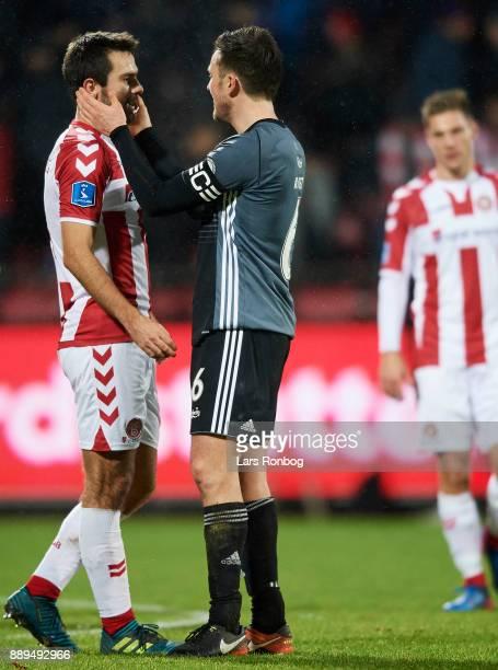 William Kvist of FC Copenhagen and Jakob Blabjerg of AaB Aalborg after the Danish Alka Superliga match between AaB Aalborg and FC Copenhagen at...