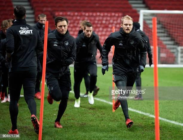 William Kvist of FC Copenhagen and Nicolai Boilesen of FC Copenhagen during traing session at Telia Parken Stadium on January 13 2018 in Copenhagen...