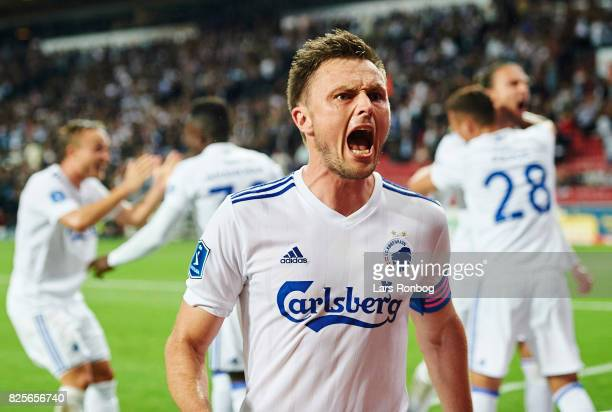William Kvist of FC Copenhagen celebrates after scoring their fourth goal during the UEFA Champions League Qualification 3rd round 2th leg match...