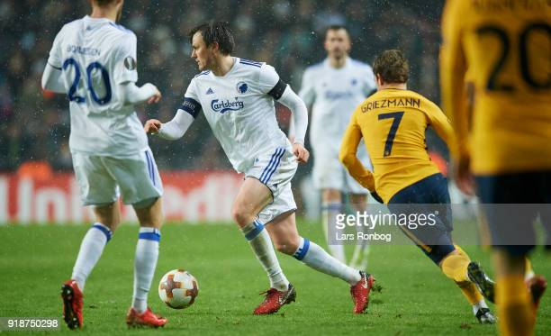 William Kvist of FC Copenhagen controls the ball during the UEFA Europa League round of 32 1 leg match between FC Copenhagen and Atletico Madrid at...