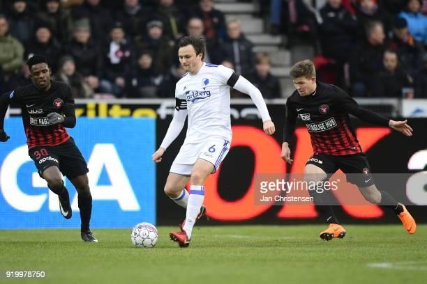 William Kvist of FC Copenhagen in action during the Danish Alka Superliga match between FC Midtjylland and FC Copenhagen at MCH Arena on February 18...