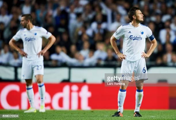 William Kvist of FC Copenhagen looks dejected during the UEFA Champions League Playoff 2nd Leg match between FC Copenhagen and Qarabag FK at Telia...