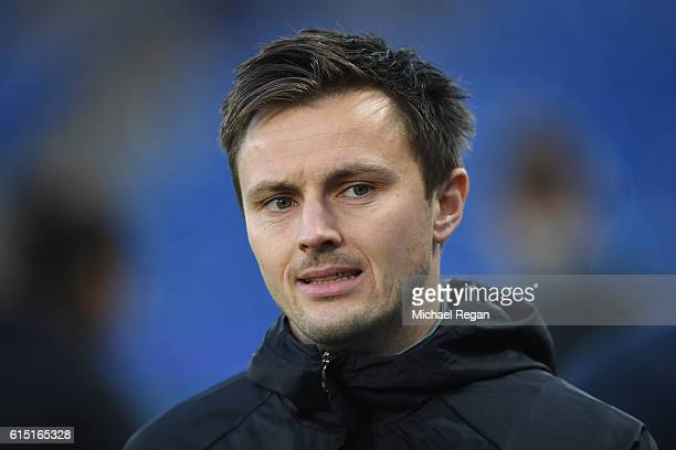 William Kvist of FC Copenhagen looks on during a FC Copenhagen training session and press conference at The King Power Stadium on October 17 2016 in...
