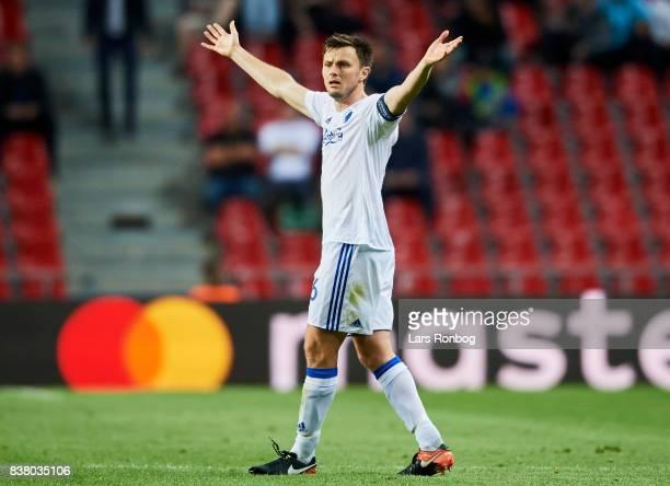 William Kvist of FC Copenhagen shows frustration during the UEFA Champions League Playoff 2nd Leg match between FC Copenhagen and Qarabag FK at Telia...