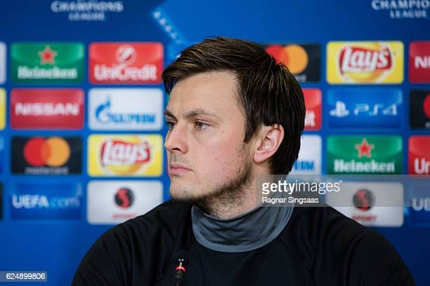 William Kvist of FC Copenhagen speaks to the media during the FC Copenhagen press conference ahead of the UEFA Champions League match against FC...