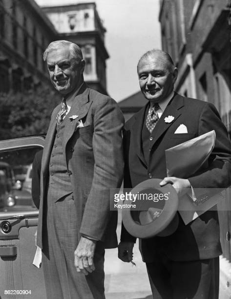 William L Clayton the US Under Secretary of State for Economic Affairs leaving 10 Downing Street in London with Lewis Williams Douglas the US...