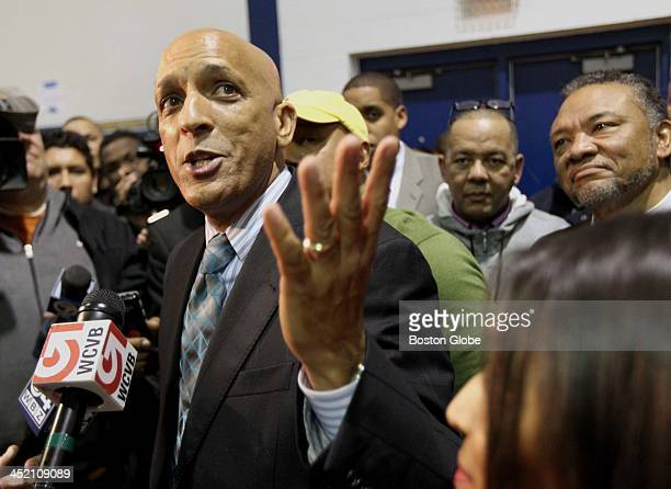 William Lantigua addresses the press after losing by 81 votes during the mayoral recount at the South Lawrence East Educational Complex Saturday Nov...