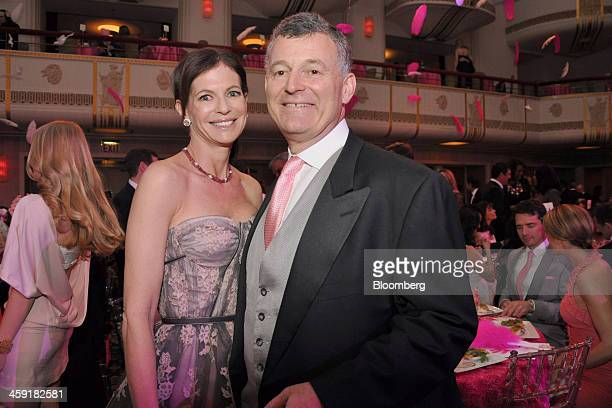 William Lauder chairman of Estee Lauder Cos right and Lori Kanter Tritsch a guest attend the Breast Cancer Research Foundation Hot Pink Party at the...