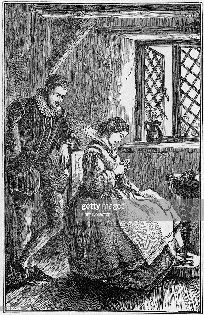 William Lee, English inventor of the frame-knitting machine, 19th century. Born in Nottinghamshire, Lee (c1550-c1610) invented his knitting machine in 1589. He is shown here watching his wife industriously knitting by hand.