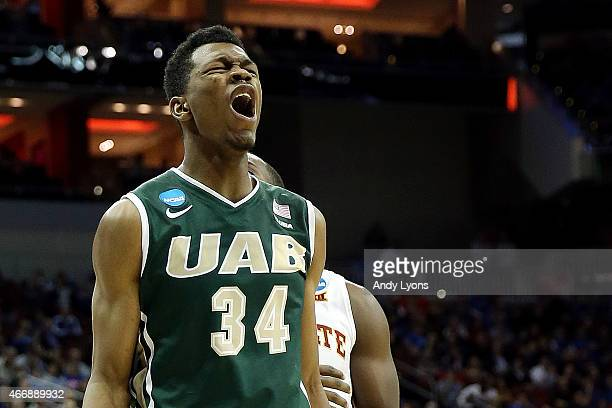 William Lee of the UAB Blazers reacts after a play against the Iowa State Cyclones during the second round of the 2015 NCAA Men's Basketball...