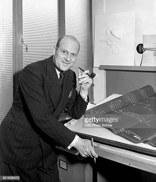 William Lescaze architect of CBS Columbia Square Studios located in Hollywood CA in his office New York NY Image dated April 1 1938