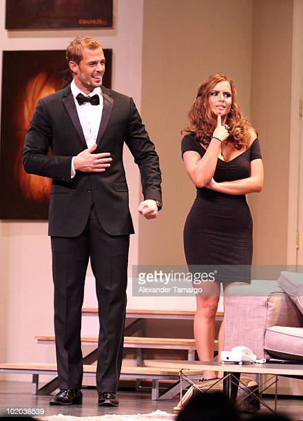 William Levy and Ana Lucia Dominguez are seen performing at the premiere of 'Un Amante a la Medida' at the Gusman Center for the Performing Arts on...