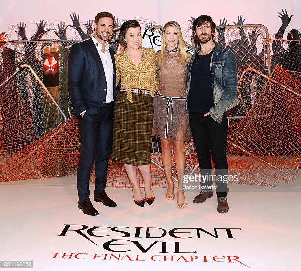 William Levy Milla Jovovich Ali Larter and Eoin Macken attend a photo call for 'Resident Evil The Final Chapter' at The London Hotel on January 7...