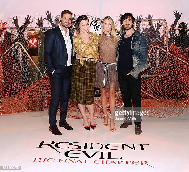 William Levy Milla Jovovich Ali Larter and Eoin Macken attend a photo call for Resident Evil The Final Chapter at The London Hotel on January 7 2017...