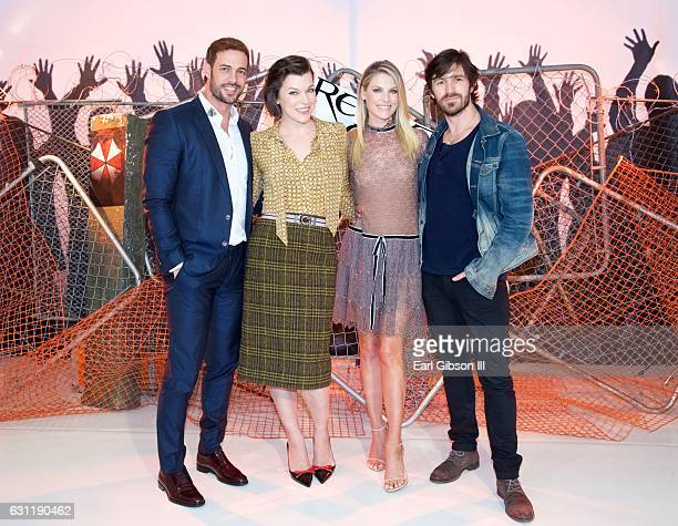 William Levy Milla Jovovich Ali Larter and Eoin Macken attend the photo call for Sony Pictures Releasing's Residnet Evil The Final Chapter at The...