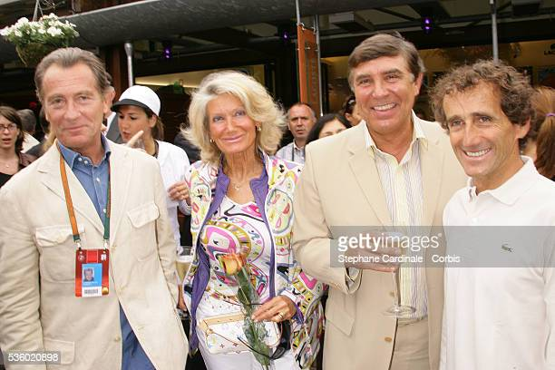 William Leymergie Jean Pierre Foucault with his wife and Alain Prost at Roland Garros Village
