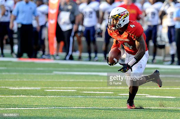 William Likely of the Maryland Terrapins returns a kick against the Old Dominion Monarchs at Byrd Stadium on September 7 2013 in College Park Maryland