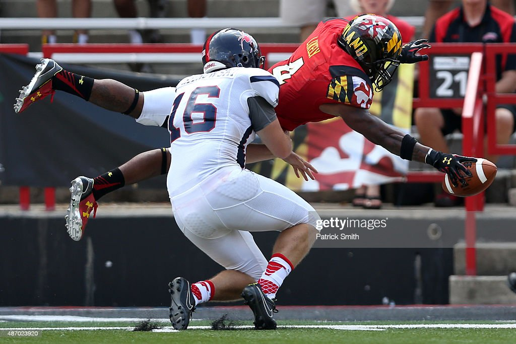 William Likely #4 of the Maryland Terrapins scores a touchdown in front of D.J. Helkowski #16 of the Richmond Spiders in the fourth quarter at Byrd Stadium on September 5, 2015 in College Park, Maryland. The Maryland Terrapins won, 50-21.
