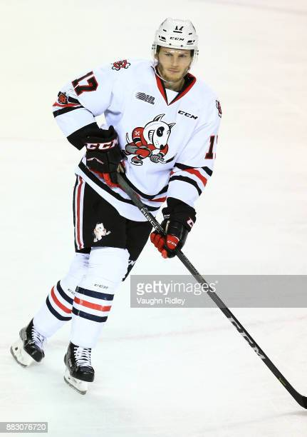 William Lochead of the Niagara IceDogs skates during an OHL game against the Mississauga Steelheads at the Meridian Centre on November 25 2017 in St...
