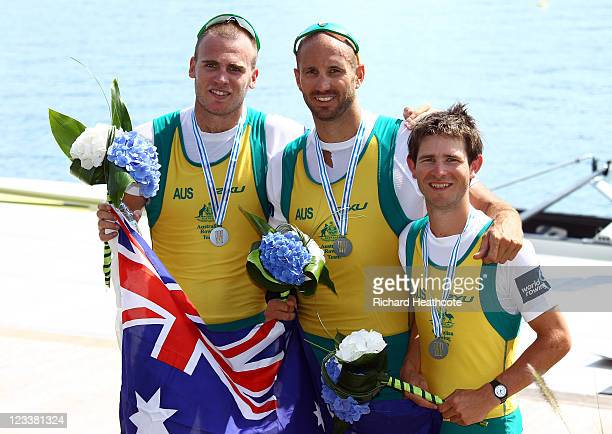 William Lockwood James Chapman David Webster of Australia celebrate with their silver medals after the Men's Coxed Pair final during day six of the...