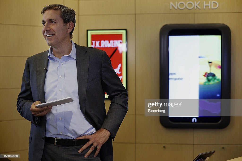 William Lynch, chief executive officer of Barnes & Noble Inc., holds a Nook tablet during an exclusive Bloomberg Television interview in New York, U.S., on Tuesday, Nov. 13, 2012. Lynch discussed the company's performance, outlook and the Nook tablet. Photographer: Victor J. Blue/Bloomberg via Getty Images