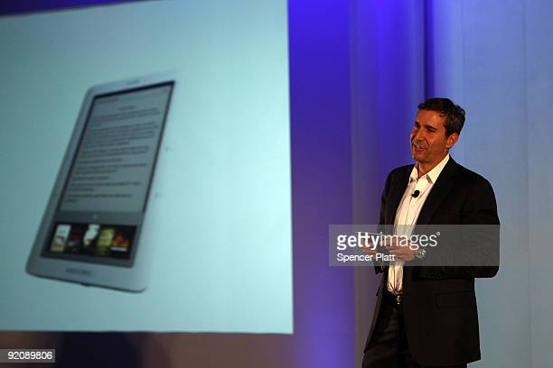 William Lynch President of Barnes and Noblecom presents the new 'nook' digital reading device on October 20 2009 in New York City The 'nook' is a...