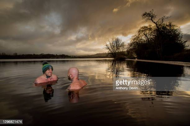 William Mahaffey takes part in cold water training with Kevin O'Neill from Breatheolution at Combs reservoir whilst training for a cross channel swim...