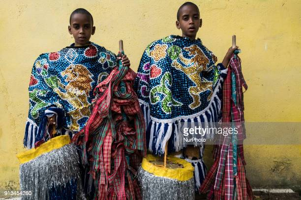 William Marcos and Willamys Marcos sevenyearold twin brothers pose in the quotCaboclo de Lançaquot costume in the city of Nazaré de Mata in Northeast...