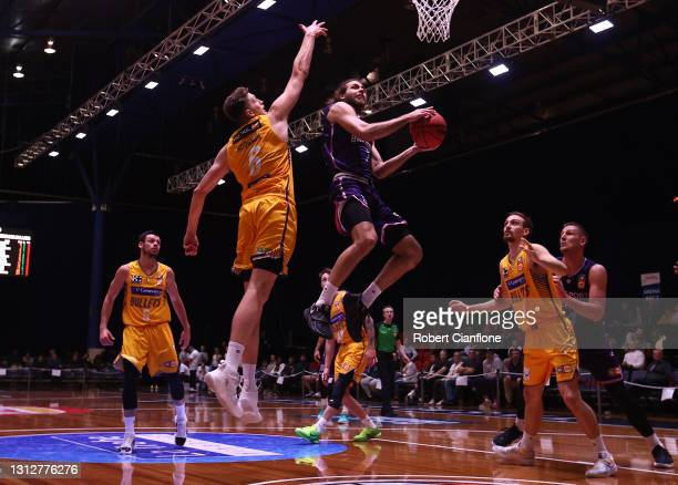 William McDowell-White of the Breakers gets up to score during the round 14 NBL match between the New Zealand Breakers and the Brisbane Bullets at...