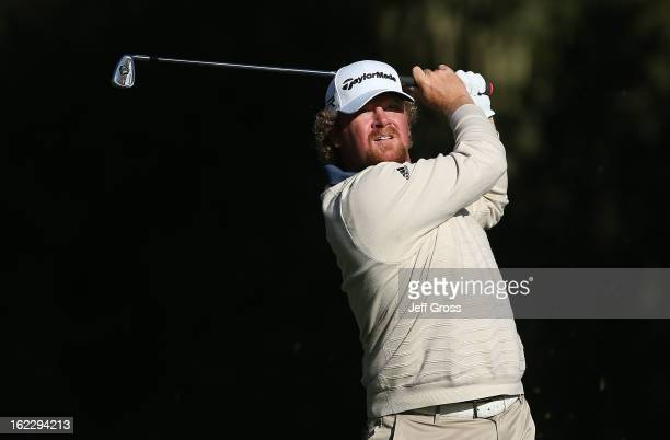 William McGirt hits a shot during the third round of the ATT Pebble Beach National ProAm at Monterey Peninsula Country Club on February 9 2013 in...