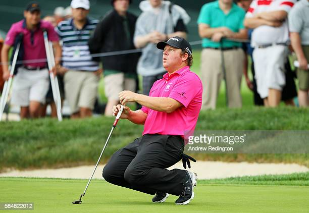 William McGirt of the United States reacts to a missed putt for birdie on the 17th green during the continuation of the weather delayed third round...